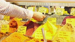 Spices in Grand Bazaar Istanbul Turkey Stock Footage