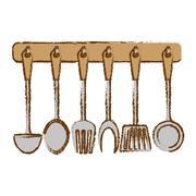 Silver rack utensils kitchen icon Stock Illustration