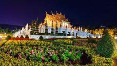 Royal Pavilion (Ho Kham Luang) In Royal Park Ratchaphruek Of Chiangmai, Thailand Stock Footage