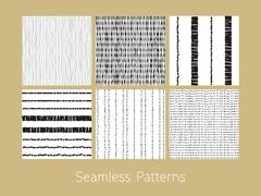 Dotted and Dashed Seamless Patterns Set Stock Illustration