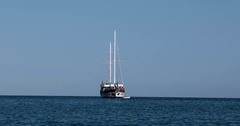 Gulet Yacht With Tourists Anchored in the Bay of Mediterranean Sea Stock Footage