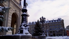 Frankfurt snow covered city center - Old Opera House and Opera Square Stock Footage