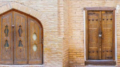 The compilation of the old wooden doors in uzbek town Stock Footage