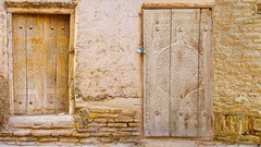 The compilation of medieval carved wooden doors from Uzbek cities of Khiva Stock Footage
