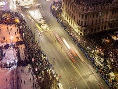 Romanians protest against Amnesty and Pardon law Stock Footage