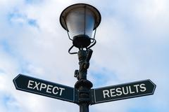 Expect versus Results directional signs on guidepost Stock Photos