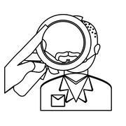Magnifying glass over man investigation icon image Stock Illustration