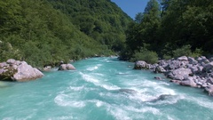 Aerial - Flying above raging whitewater rapids of famous river Soča Stock Footage