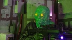 Alien monster with laser gun Stock Footage