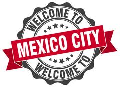 Mexico City round ribbon seal Piirros