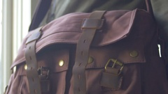 Getting satchel supplies out bag school Stock Footage