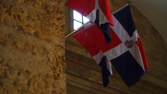 Dominican Republic Flags hanging Stock Footage