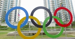 RIO 2016 olympic rings at Village Stock Footage