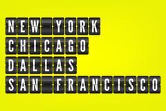 New York Chicago Dallas San Francisco american cities flip vector symbols Stock Illustration