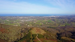 Aerial view of Saint Jean de luz from Ibardin mountain Stock Footage