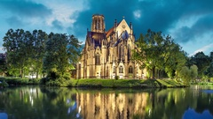 St John's Church at the evening in Stuttgart Stock Footage