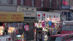 CLOSE UP: Gift & jewelry shops for tourists in residential area of New York City Stock Footage