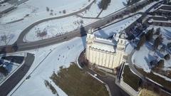 Aerial LDS Mormon Manti Utah Temple winter snow Stock Footage