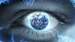 Planet Earth in the Eye Iris Weird Fantasy Science Fiction Stock Footage