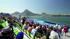 Public at olympic rowing at Lagoon in Rio 2016 Stock Footage