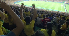 Brazilian crowd celebrating at final match Brazil vs Germany RIO 2016 Stock Footage