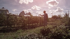 Man Sprays Private Vegetable Garden with Pesticide Stock Footage