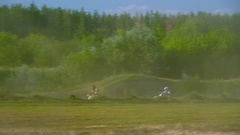 Extreme sports motocross motorcycle jumping on a race on high speed rail amped Stock Footage