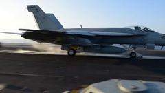 US Navy Aircraft Start Flighdeck Carrier Stock Footage