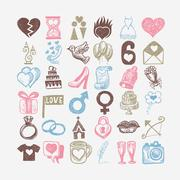 36 hand drawing doodle icon set, wedding sketchy illustration Stock Illustration