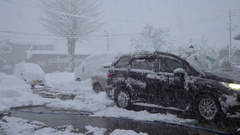 Man Clears Deep Snow From Car Roof During Blizzard Stock Footage
