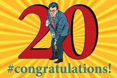 Congratulations 20 anniversary event celebration Stock Illustration