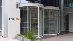 Street signage board with ING Group logo. Modern office building. Editorial 4K Stock Footage