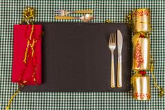Place laid for Christmas dinner. Stock Photos