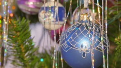 Footage decoration toy on a Christmas tree Stock Footage