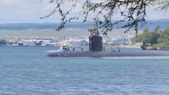 Submarine USS Cheyenne drive to Pearl Harbour Stock Footage