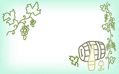 Hand drawn card with grapes, wine, glass, barrel Stock Illustration