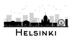 Helsinki City skyline black and white silhouette Piirros