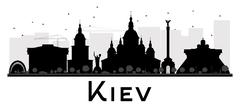Kiev City skyline black and white silhouette. Piirros