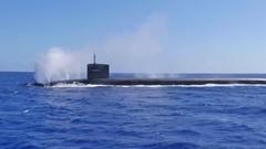 Submarine USS Pennsylvania blow off their tanks. Stock Footage