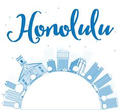 Outline Honolulu Hawaii skyline with blue buildings and copy space Piirros