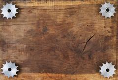 Engineering tools gears on wooden table Kuvituskuvat
