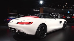 Mercedes-AMG GT Roadster luxury performance car Stock Footage
