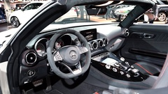 Mercedes-AMG GT Roadster luxury performance car interior Stock Footage