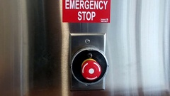 Emergency stop button for a glass revolving door in the hospital Stock Footage
