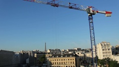 Building Paris With Large Crane With Eiffel Tower Stock Footage