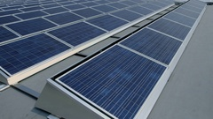 Solar Panels on Roof - photovoltaics Stock Footage