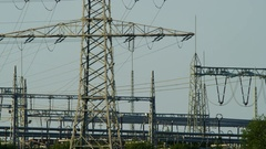 Electrical transformer station Stock Footage