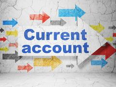 Banking concept: arrow with Current Account on grunge wall background Stock Illustration