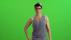Hipster filters a phone call from a blocked number and answers a text Stock Footage