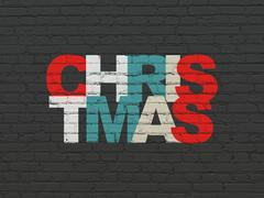 Holiday concept: Christmas on wall background Stock Illustration